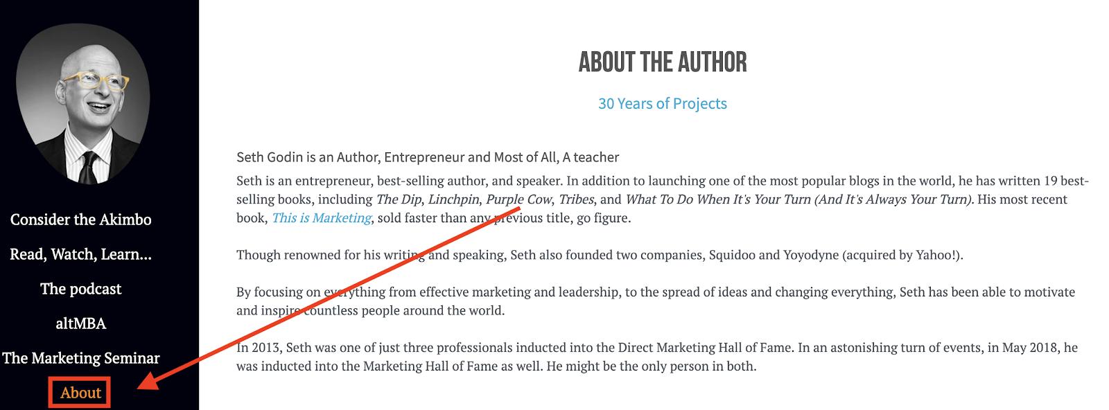 Seth Godin's about page
