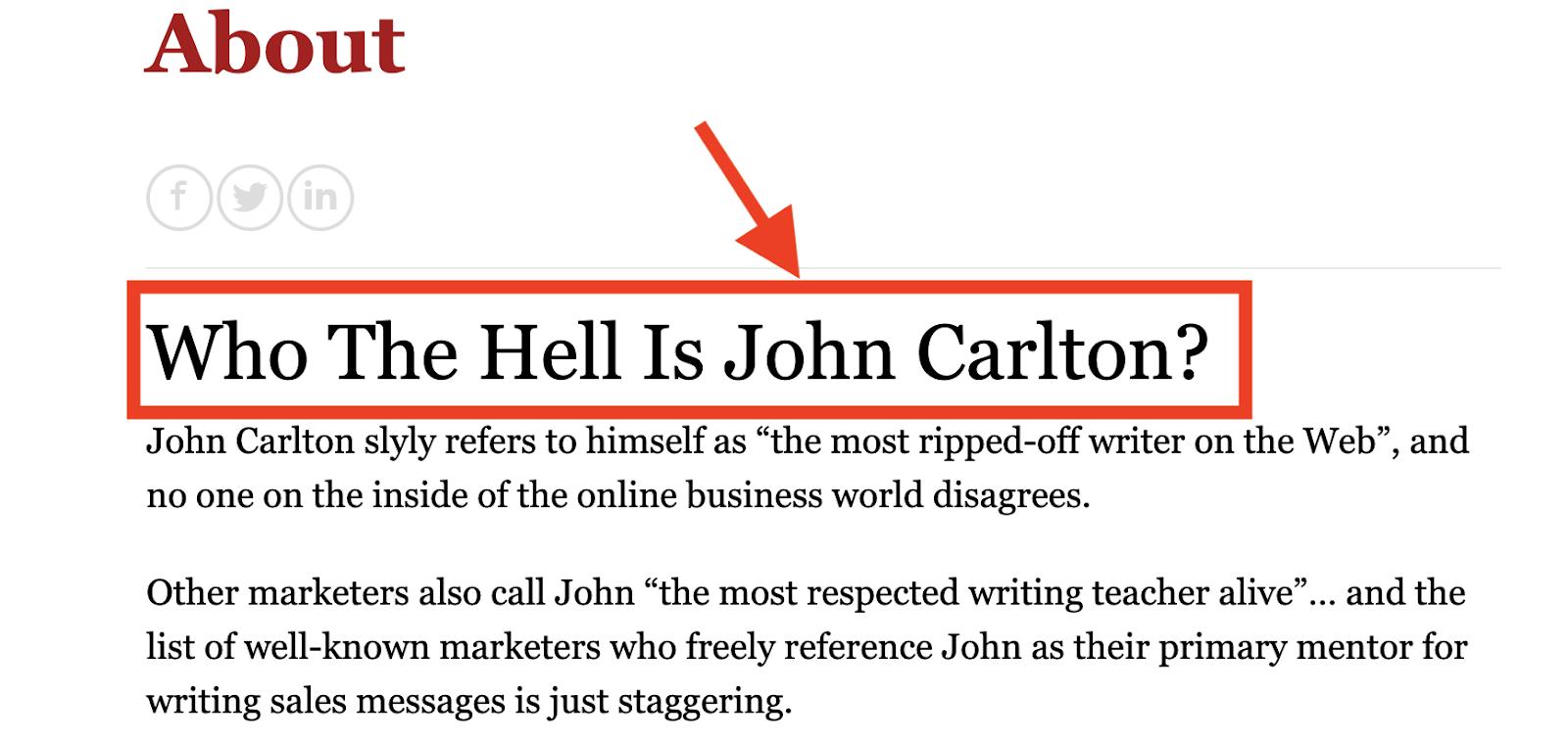 John Carlton's about page