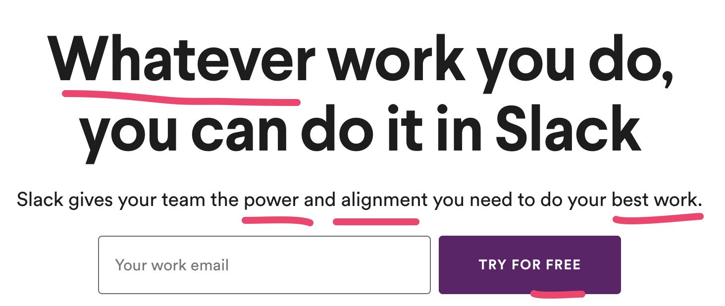 Slack Headline with Power Words