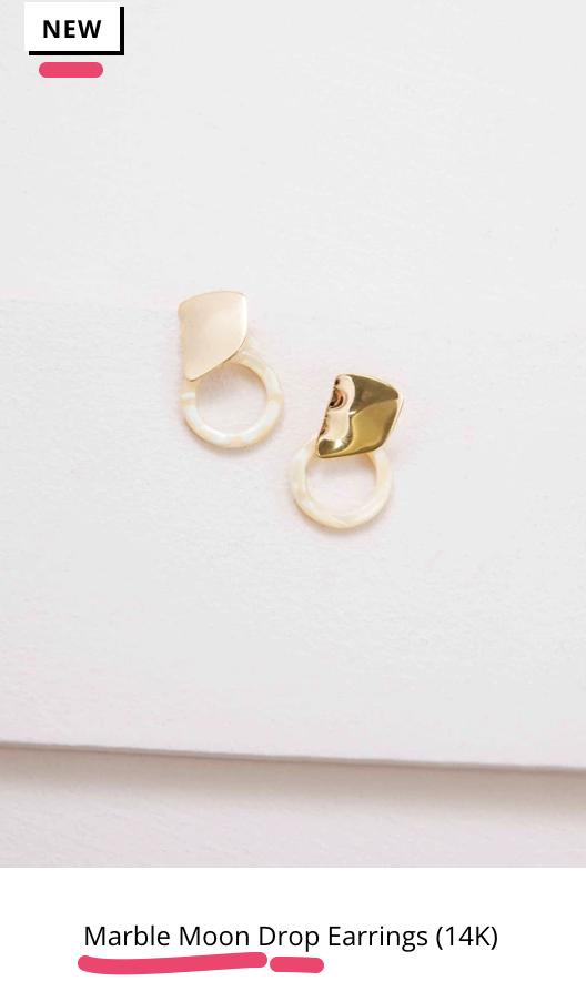 Marble Moon Drop Earrings