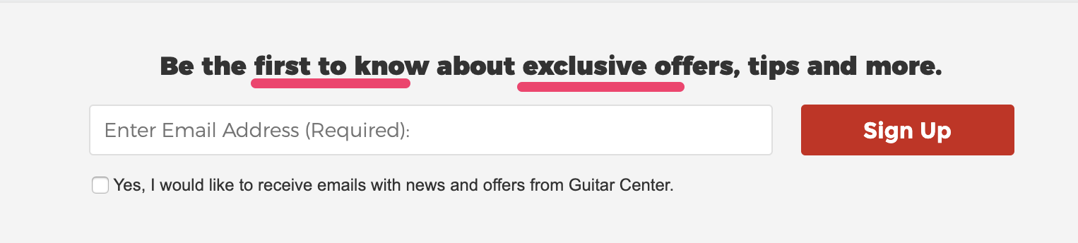 Guitar center headline with power words